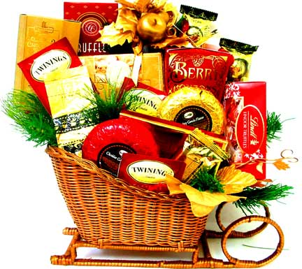 XGF20 ''Dashing Through The Snow'' Gourmet Basket in Oklahoma City OK, Array of Flowers & Gifts