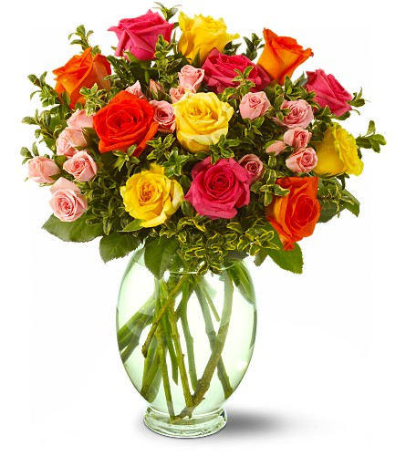 Teleflora's Summertime Roses in usa-send-flowers NJ, Stanley's America's Florist & Gifts