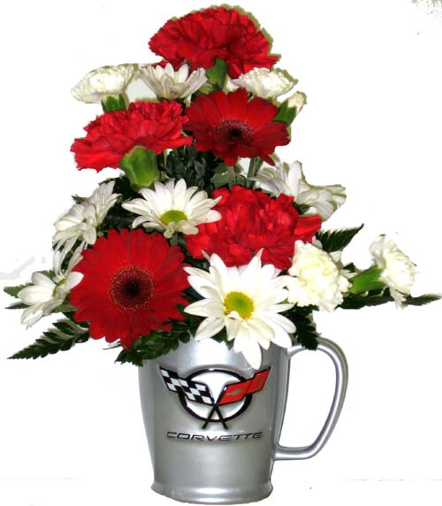 Corvette Coffee Mug - Designed One-Sided in Wyoming MI, Wyoming Stuyvesant Floral
