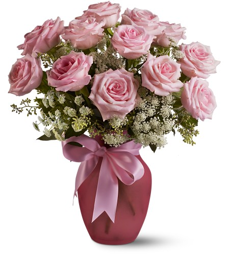 A Dozen Pink Roses and Lace Local and Nationwide Guaranteed Delivery - GoFlorist.com