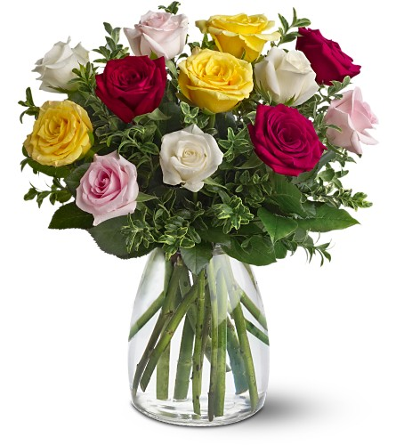 A Dozen Mixed Roses Local and Nationwide Guaranteed Delivery - GoFlorist.com