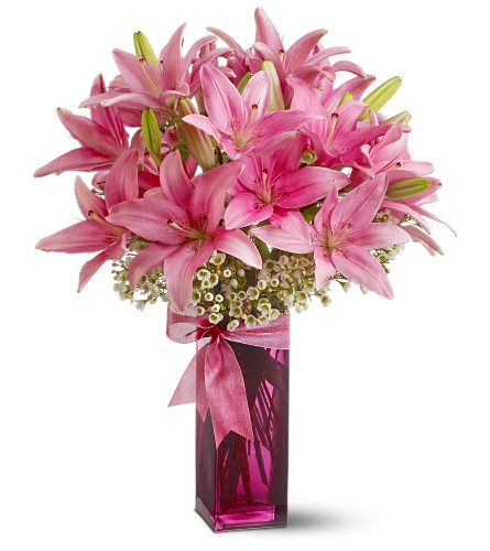 Teleflora's Pretty Pink Lilies in Kelowna BC, Bloomers Floral Designs & Gifts, Ltd.