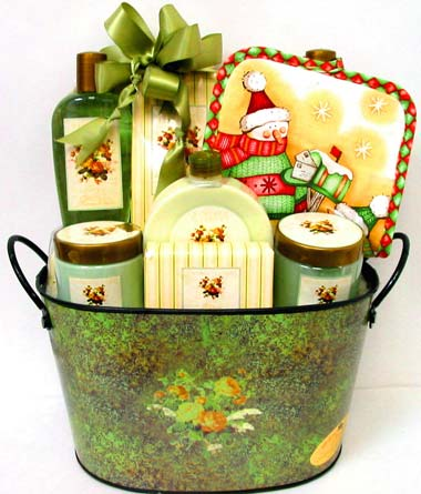 XGB112 ''Relaxing Holidays'' Bath & Body Basket in Oklahoma City OK, Array of Flowers & Gifts