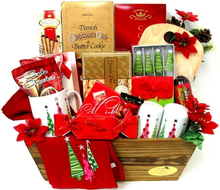 XGF129 ''Christmas Cheer'' Gift & Gourmet Basket in Oklahoma City OK, Array of Flowers & Gifts