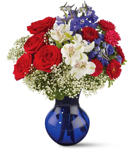 Red White and True Bouquet in Sarasota FL, Flowers By Fudgie On Siesta Key