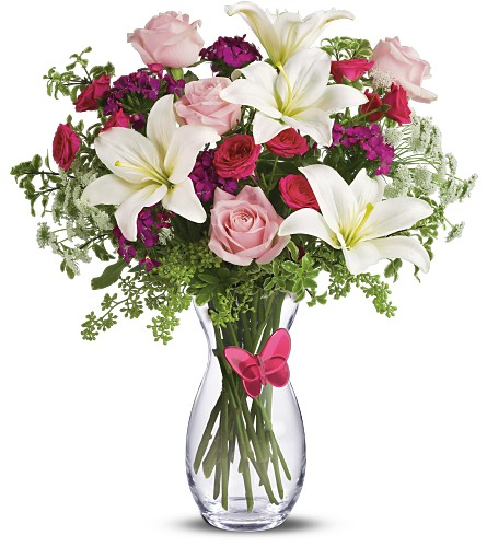 Pink Butterfly Bouquet by Teleflora Deluxe in Oklahoma City OK, Array of Flowers & Gifts