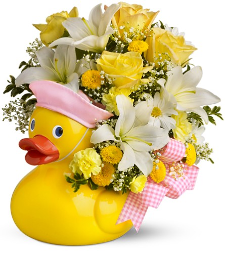 Teleflora's Just Ducky Bouquet - Girl - Premium in Manchester NH, Chalifour's Flowers
