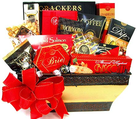 GF117 ''Good As Gold' Gourmet Basket in Oklahoma City OK, Array of Flowers & Gifts