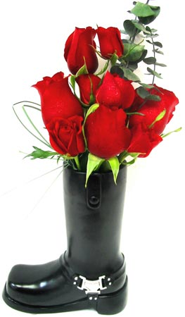 VF99 ''Motorcycle Boot'' Rose Arrangement in Oklahoma City OK, Array of Flowers & Gifts