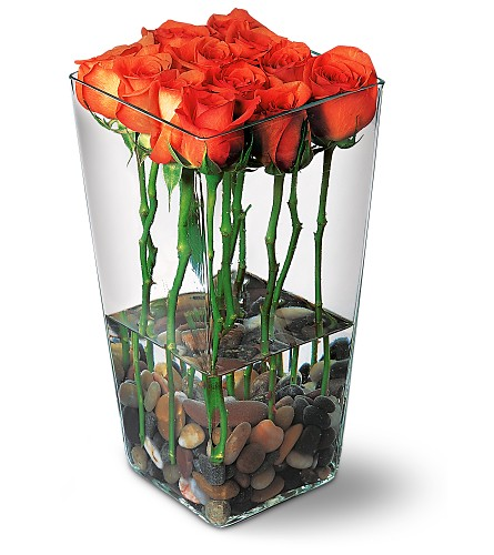 Orange Roses with River Rocks in New York NY, Flowers By K & R Florist, Inc.