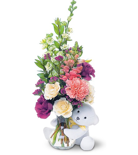 Teleflora's Bear Hug Bear with White Roses in Marshall MI, The Marshall Flower Haus