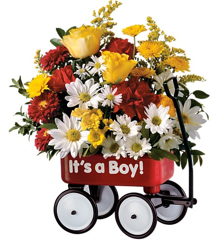Teleflora's Baby's First Wagon - Boy in Denville NJ, Flowers by CandleLite