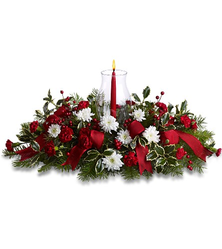 Happy Holidays Centerpiece in Orwell OH, CinDee's Flowers and Gifts, LLC