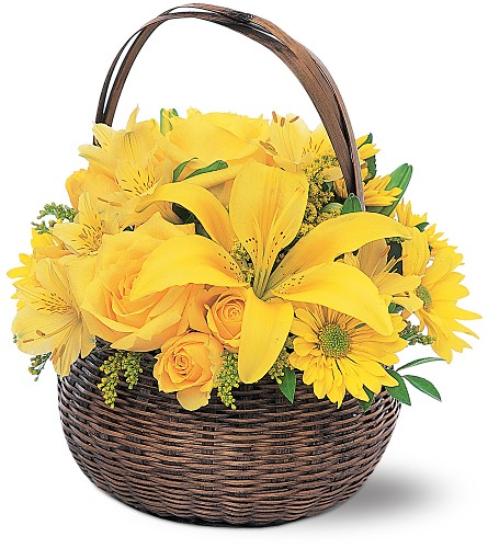 Yellow Flower Basket in New York NY, CitiFloral Inc.