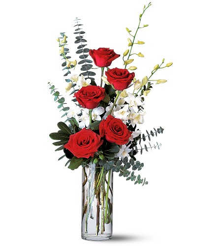 Red Roses and White Orchids in Sayville NY, Sayville Flowers Inc