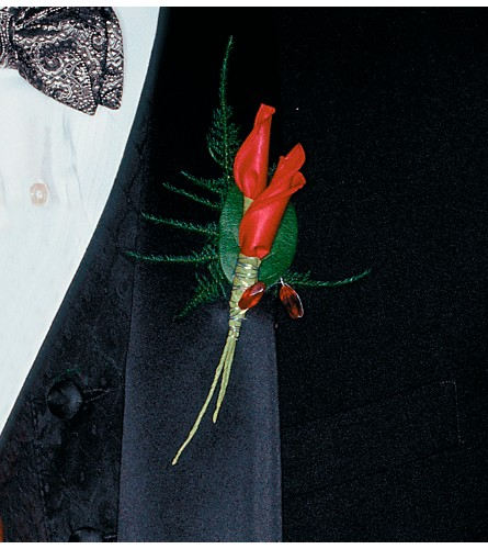 Red Rose Petals Boutonniere in Denver CO, Lehrer's Flowers