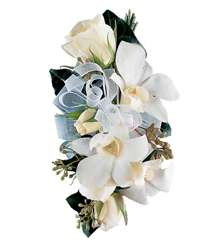 White Rose and Orchid Corsage in Jonesboro AR, Bennett's Flowers