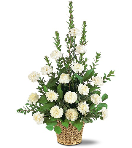 White Simplicity Basket in Albany NY, Emil J. Nagengast Florist
