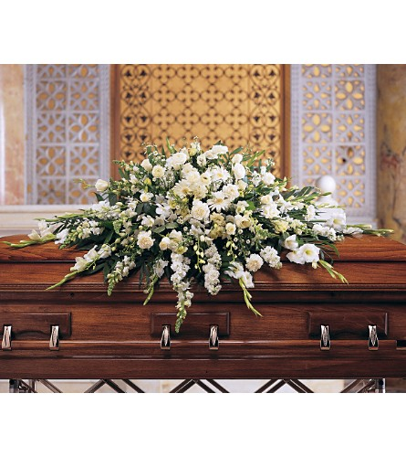 Deluxe Pure White Casket Spray in St. Louis MO, Walter Knoll Florist