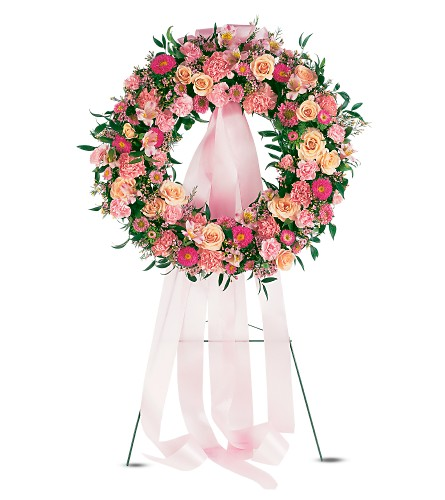 Respectful Pink Wreath in Port St Lucie FL, Flowers By Susan