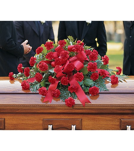Red Regards Casket Spray in Bend OR, All Occasion Flowers & Gifts