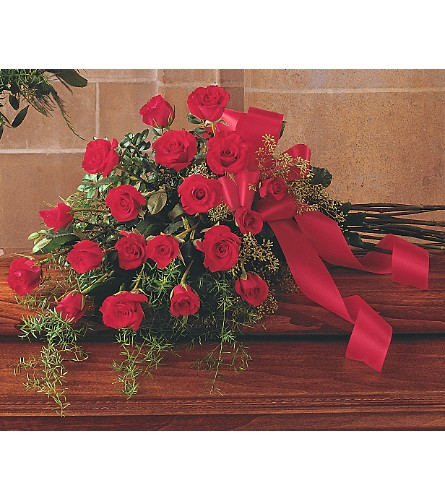 Red Rose Tribute Casket Spray in San Francisco CA, Fillmore Florist