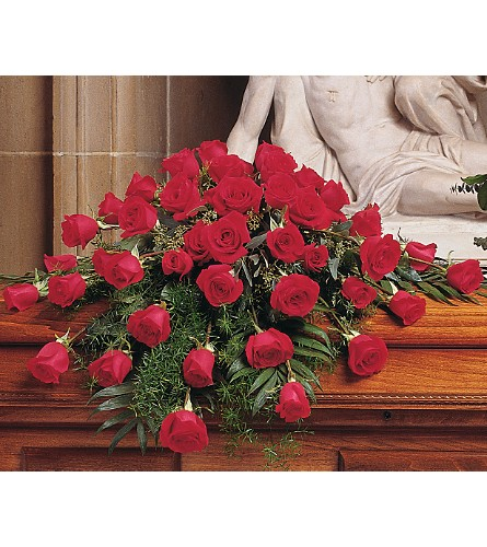 Blooming Red Roses Casket Spray in Boston MA, Exotic Flowers