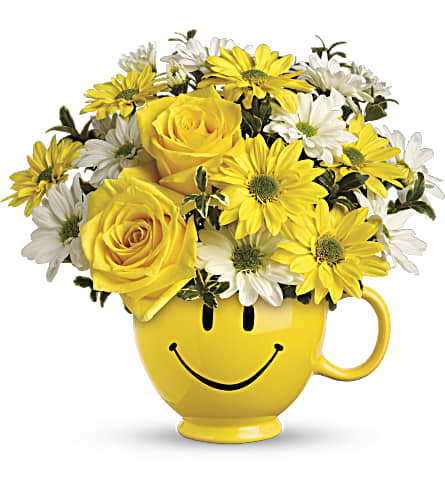 Teleflora's Be Happy Bouquet with Roses in Denton TX, Crickette's Flowers & Gifts