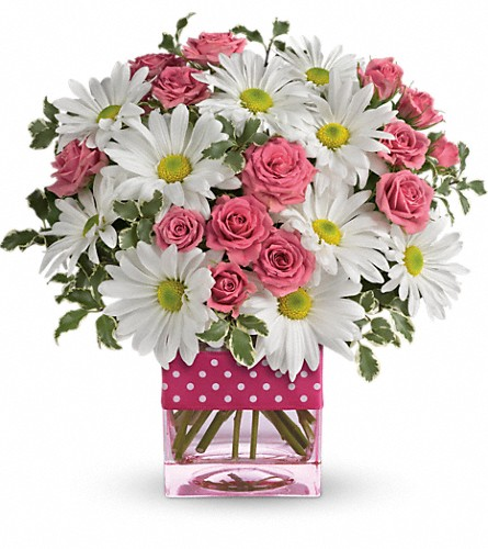Teleflora's Polka Dots and Posies in Corona CA, Corona Rose Flowers & Gifts