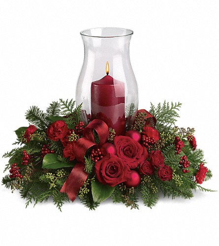 Order your holiday glow centerpiece t a all flowers