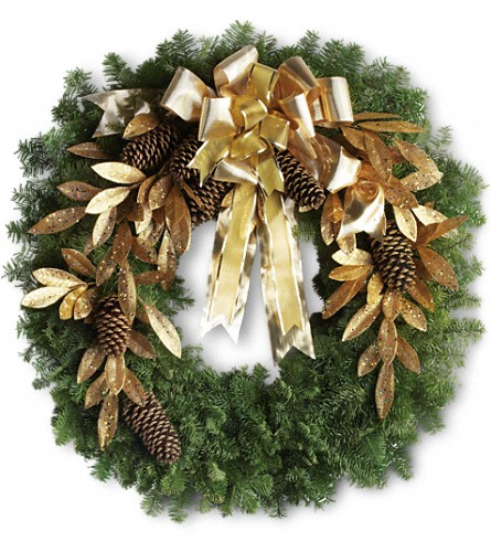 Glitter & Gold Wreath in Denton TX, Crickette's Flowers & Gifts