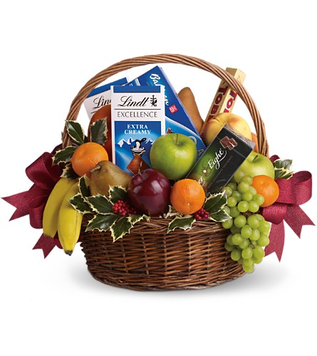 Fruits and Sweets Christmas Basket in Festus MO, Judy's Flower Basket