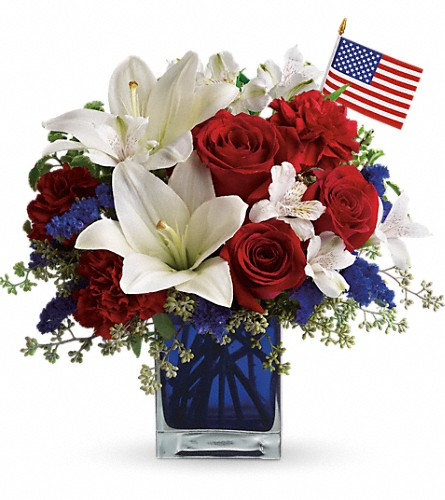 America the Beautiful by Teleflora in Meriden CT, Rose Flowers & Gifts Inc.