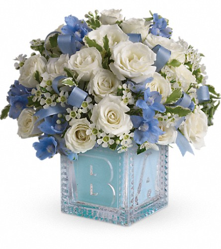 Baby's First Block by Teleflora - Blue in Santa Clara CA, Fujii Florist - (800) 753.1915