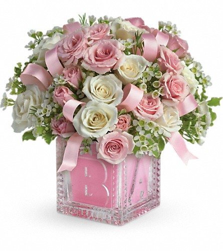 Baby's First Block by Teleflora - Pink in Canton NC, Polly's Florist & Gifts