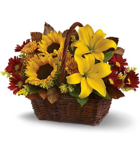 Golden Days Basket in Bowman ND, Lasting Visions Flowers