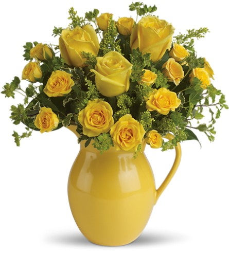 Teleflora's Sunny Day Pitcher of Roses in San Fernando CA, A Flower Anytime