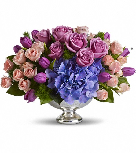 Teleflora's Purple Elegance Centerpiece in Hamilton OH, Gray The Florist, Inc.