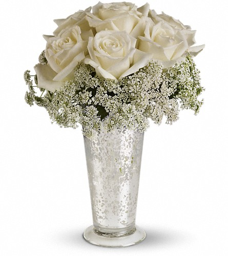 Teleflora's White Lace Centerpiece in Baltimore MD, Rutland Beard Florist