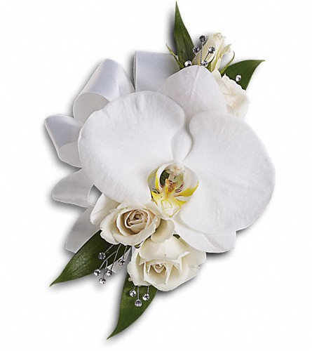 White Orchid and Rose Corsage in Naples FL, Gene's 5th Ave Florist