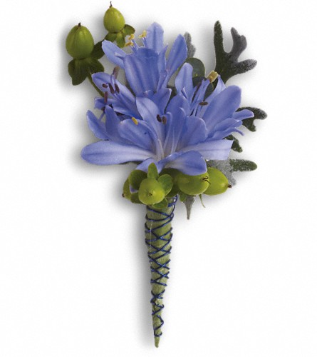 Bold and Blue Boutonniere in Westminster CA, Dave's Flowers