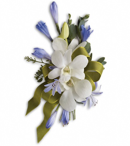 Blue and White Elegance Corsage in Kelowna BC, Burnetts Florist & Gifts