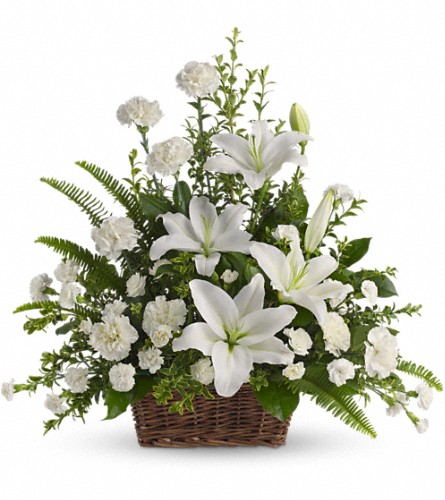 Peaceful White Lilies Basket in Sayville NY, Sayville Flowers Inc