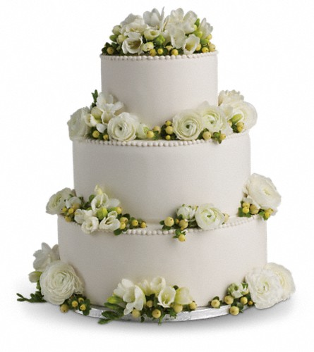 Freesia and Ranunculus Cake Decoration in San Francisco CA, Fillmore Florist