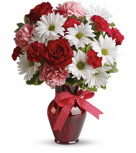 Hugs and Kisses Bouquet with Red Roses in Upland CA, Suzann's Flowers