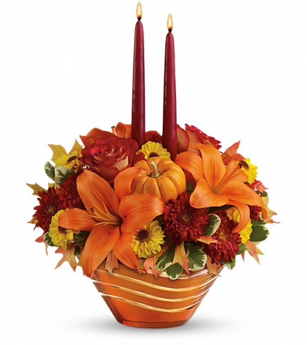 Teleflora's Amber Waves Centerpiece in Oklahoma City OK, Array of Flowers & Gifts