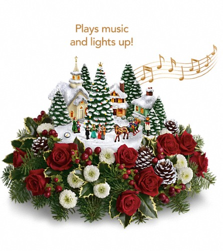 Thomas Kinkade's Christmas Carolers by Teleflora in West Covina CA, Mario Del Fante Florist