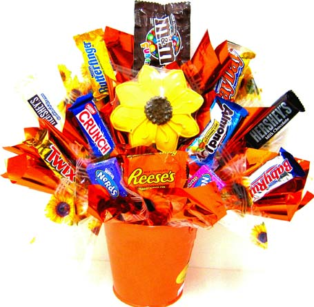 CB155 ''Sunflowers Sweets'' Candy & Cookie Bouquet in Oklahoma City OK, Array of Flowers & Gifts