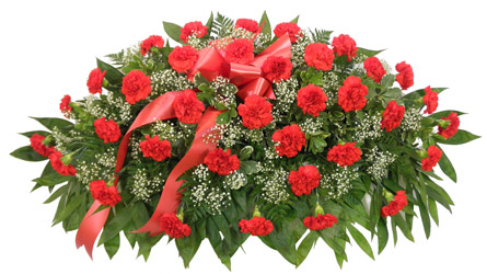 Timeless Traditions Red Carnation Casket Spray in Denver CO, Lehrer's Flowers