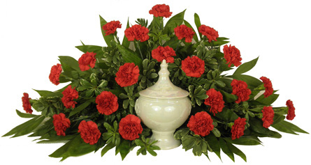 Timeless Traditions Red Carnations Cremation Setting in Denver CO, Lehrer's Flowers